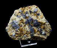581.8g Transparent Blue Cube Fluorite & Calcite Crystal Mineral Specimen/China