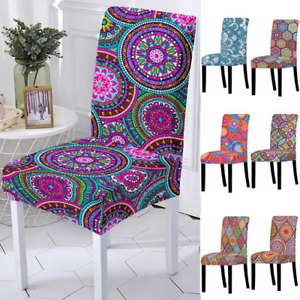 4PC 3D Spandex Chair Cover for Dining Room Mandala Print Chairs Covers High Back