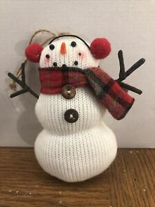 Snowman Sock Christmas Ornament 5 Inches