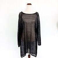 Moda Black Size 22 Crochet / Netting Cover Up Short Sleeve Women's Top