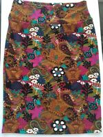 RARE LuLaRoe Paisley Cassie Skirt Size L Large Pink Teal Gold Pencil Skirt