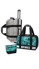 Victorias Secret PINK Marl gray Palm Luggage TRAVEL SET Wheelie Duffle Carry On