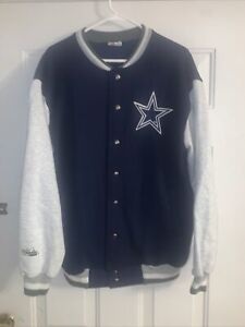 Dallas Cowboys NFL Majestic Varsity Jacket Snap Buttons Men's L Vintage