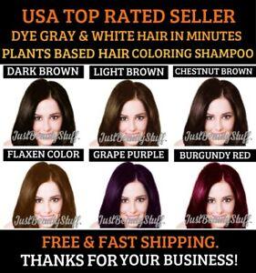 5 PCS HAIR DYE SHAMPOO PLANTS BASED COLOR GRAY&WHITE HAIR IN MINUTES WOMEN&MEN