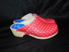 Cape Clogs Sweden Girls 36 4 4.5 Pink Polka Dot Shoes Leather Wood Slip On Kids