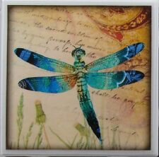 Set of 4 - Handmade Natural Ceramic Tile/Stone Drink Coasters - Dragonfly 1 B