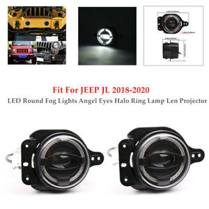 """4""""30W Pair LED Round Fog Light Angel Eyes Lamp Len Projector For JEEP JL 18-20"""