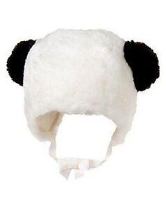 GYMBOREE PANDA BLOSSOM IVORY PANDA w/ EARS FUR HAT 0 3 6 12 18 24 NWT