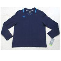 New Umbro Navy & Blue V-Neck Polo Shirt Large Long Sleeve Cotton Men's Mans Top