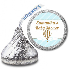 Glitter Hot Air Balloon Boy Personalized Hershey Kiss Baby Shower Sticker Labels