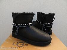 UGG BLACK RENN SWAROVSKI CRYSTAL BLING BOMBER SHEEPSKIN BOOTS, US 9/ EUR 40 ~NEW