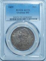 1835 PCGS AU55 O-103 R.2 Capped Bust Half Dollar