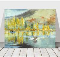 """WINSLOW HOMER - An October Day - CANVAS ART PRINT POSTER - Deer Lake - 18x12"""""""