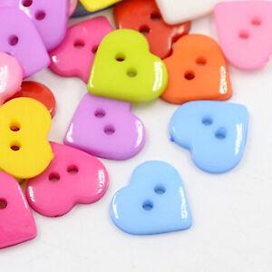 Knöpfe Acryl Herzen Herz Knopf 2-Loch 16mm x 16mm für Trachten Basteln Kinder *