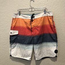 New listing Rip Curl Mens Swim Trunks Striped Multicolor Board Shorts Size 36