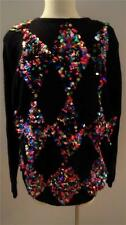 Not Ugly Christmas Holiday Long Sweater or Mini Dress Black Multi Color Sequins