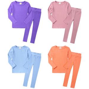 Girls Boys Toddlers Kids Pyjamas Long Sleeve Top Bottom Set Plain Nightwear PJs