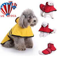 Pet Dog Waterproof Outdoor Raincoat Puppy Reflective Hooded Jacket Coat Clothes