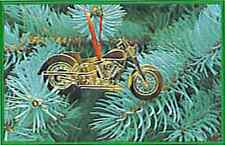 CHRISTMAS BRASS MOTORCYCLE ORNAMENT - HARLEY LOOKING