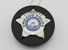 Chicago  cut-out leather belt holder with chain and PIN AS PICTURE