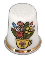Personalised Flower Teacup Bone China Thimble, Wedding Anniversary Engagement
