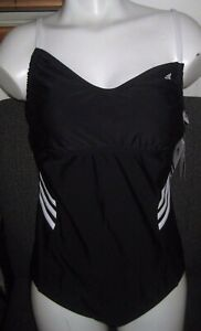 ADIDAS Adjustable A-D Cup ONE-piece 3-stripe Swimsuit, BLACK size 14 *New w/Tags