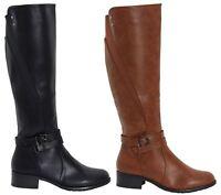 Womens Ladies Zip Up Buckle Knee Length High Flat Block Low Heel Boots Shoes UK