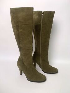 Tony Bianco Boots Leather Suede High Heels Olive Green Size 6 AU Knee High