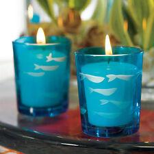 Set of 8 Carved Glass Fish Tea Light Holders Bridal Shower Wedding Favors