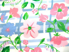 3 Yards of Blue and White Striped with Pink and Blue Floral Fabric