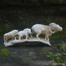 Goats Group Carved 154x63mm in Deer Antler Bali Carving ST585 Table Decor