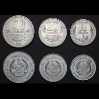 [L-1] Laos Set 3 PCS Coins, 10+20+50 Att, 1980, UNC