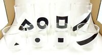 Vintage Acrylic Set of 8 Bar Beverage Drinking Glasses With Geometric Designs