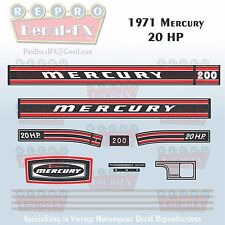 1971 Mercury 20 HP Kiekhaefer Outboard Reproduction 13 Pc Marine Vinyl Decal 200