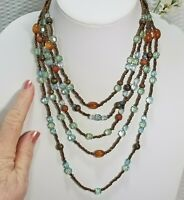 Vintage Pale Aquamarine and Cognac Acrylic Crystal and Bronze Seed Bead Multi St