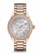 Bulova Para mujeres 97N101 Oro Rosa Swarovski Cristal de cuarzo reloj vestido