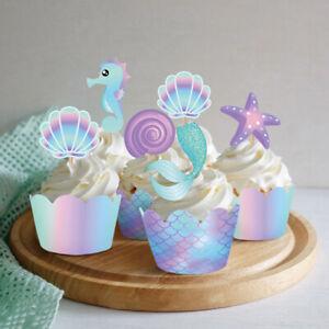 20pcs Mermaid Cake Border Baby Shower Wedding Cake Topper Decorations Wrap HFTM