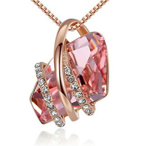 Ladies Fashion Rose Gold Plated Pink Crystal White Zircon Necklace Jewelry