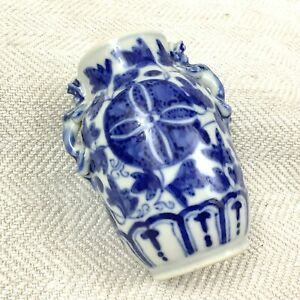 Antique Chinese Porcelain Vase Hand Painted Blue and White Xuande Mark C. 1920