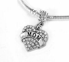 Mom jewelry Mother gift Mommy present Crystal heart charm only Ma gift Mum charm