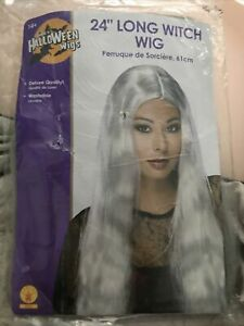 "24"" Long Gray Hair Wig Witch Womens Adult Halloween Costume Wig Dress Up"