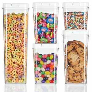 mDesign Airtight Food Storage Container with Lid for Kitchen, Set of 5 - Clear
