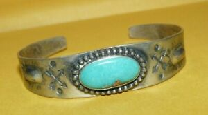 ~OLD~PAWN~NATIVE~NAVAJO~FRED~HARVEY~ERA~STERLING~SILVER~TURQUOISE~CUFF~BRACELET~