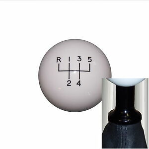 "1-7/8"" White 5 Speed shift knob kit fits non-threaded VW Audi blk 5UR-RUL"