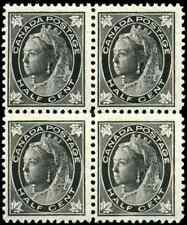 Canada #66 mint F-VF OG NH Queen Victoria 1/2c black Maple Leaf Block of 4