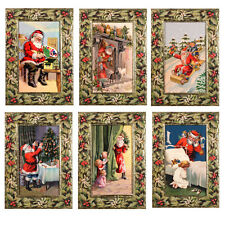 36 Decoupage Glittered Xmas Cards in Holly & Mistletoe Embossed Frame XC0047
