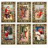 36 Decoupage Glittered Xmas Cards in Holly & Mistletoe Embossed Frame XC0047