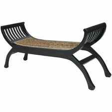 Rattan Bench Seat Abaca Wood Rustic Living Room Bedroom Furniture 120x36x58 cm✓