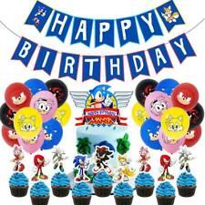 Sonic The Hedgehog Kids Birthday Party Decor Cartoon Balloons Banner Cake Topper