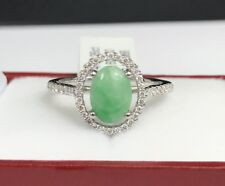 14k Solid White Gold Genius Diamond 0.26 Ct Ring With Natural Jade. Was $2,600.